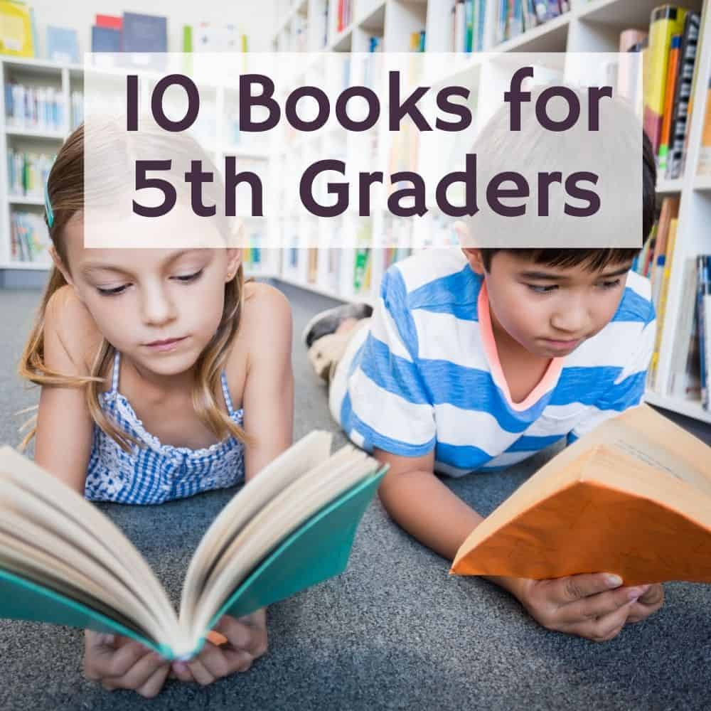 2 students reading on the floor of the library. Title image of blog post: 10 5th Grade Books