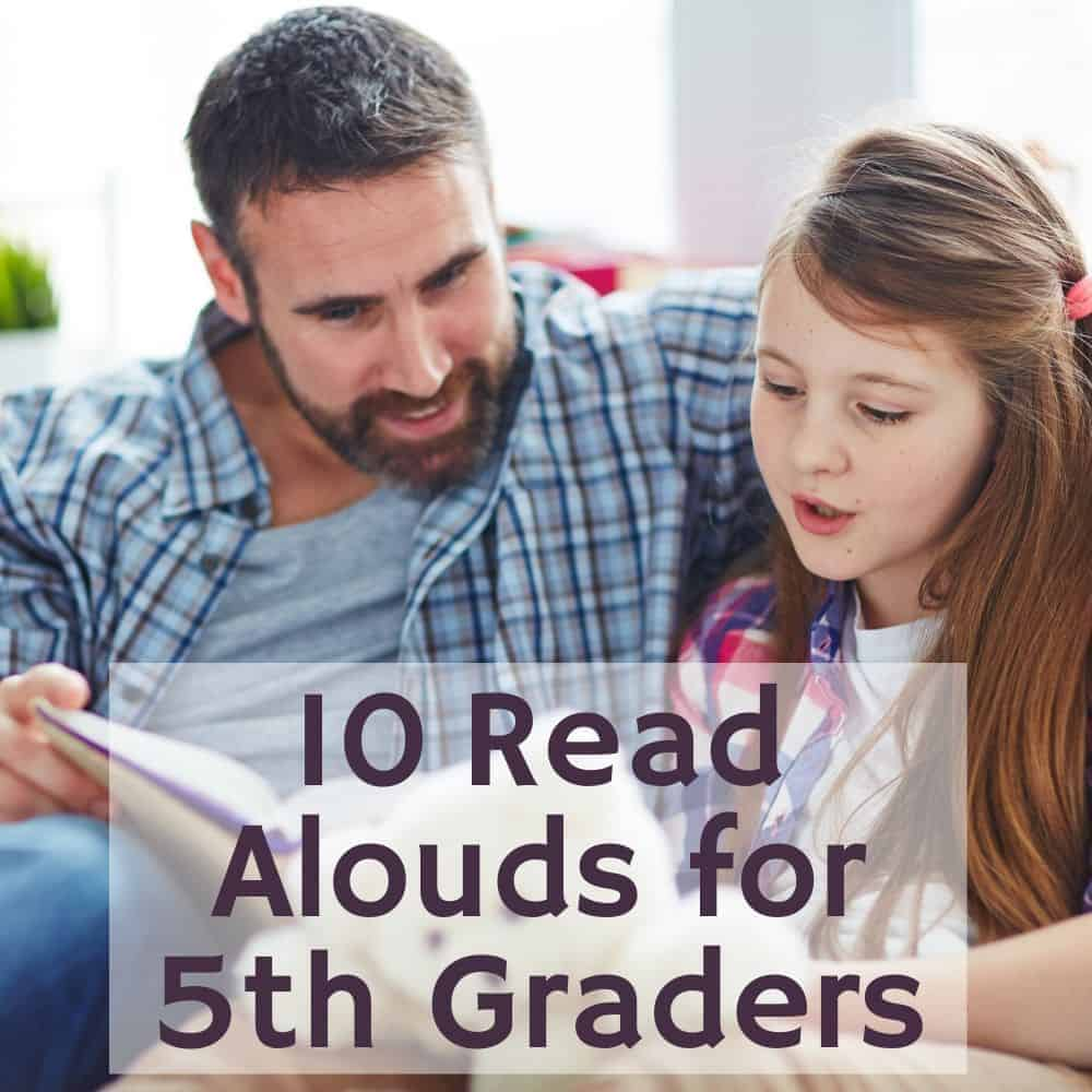 girl reading aloud to her dad. Title image of blog post: 10 5th Grade Read Alouds