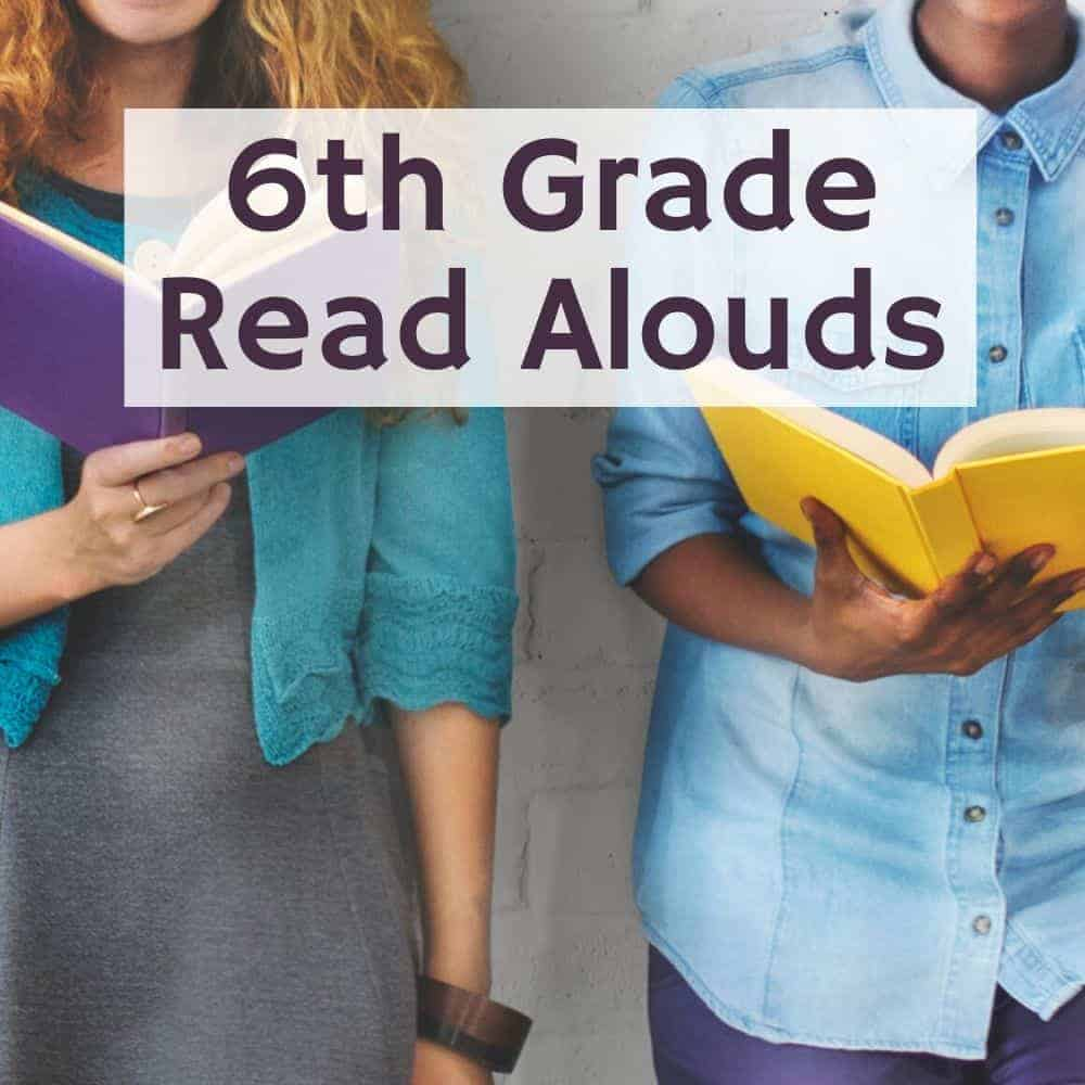 2 young ladies standing reading a book. Title image for blog post 10 6th grade read alouds