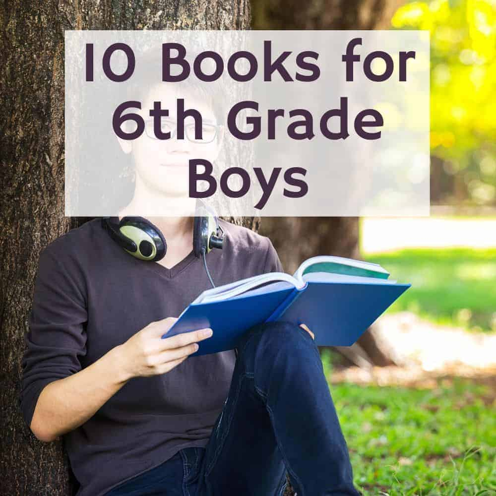 tween boy reading in front of a tree. title image of blog post 10 books for 6th grade boys