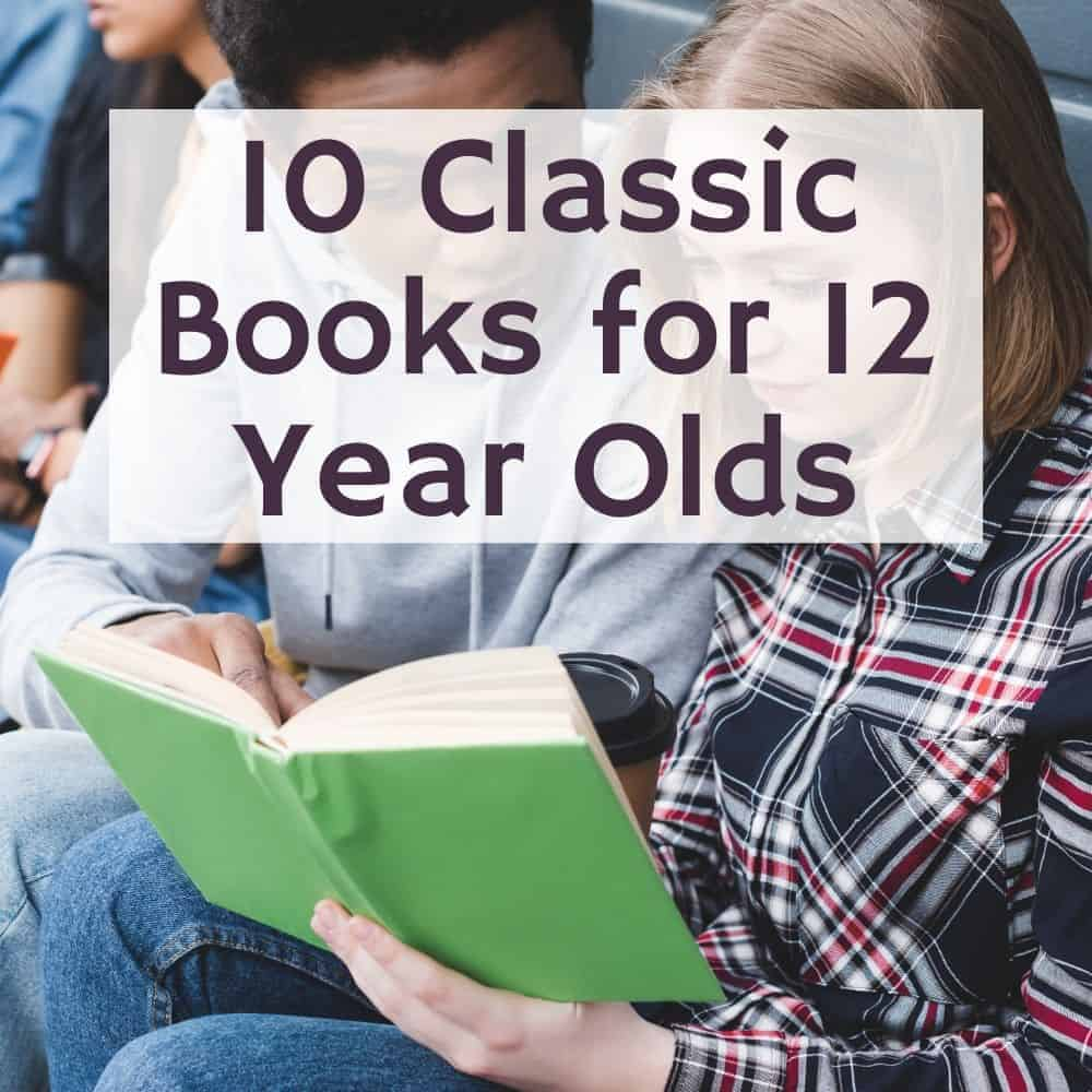 kids sitting a reading a book together. Title image for blog post 10 classic books for 12 year olds