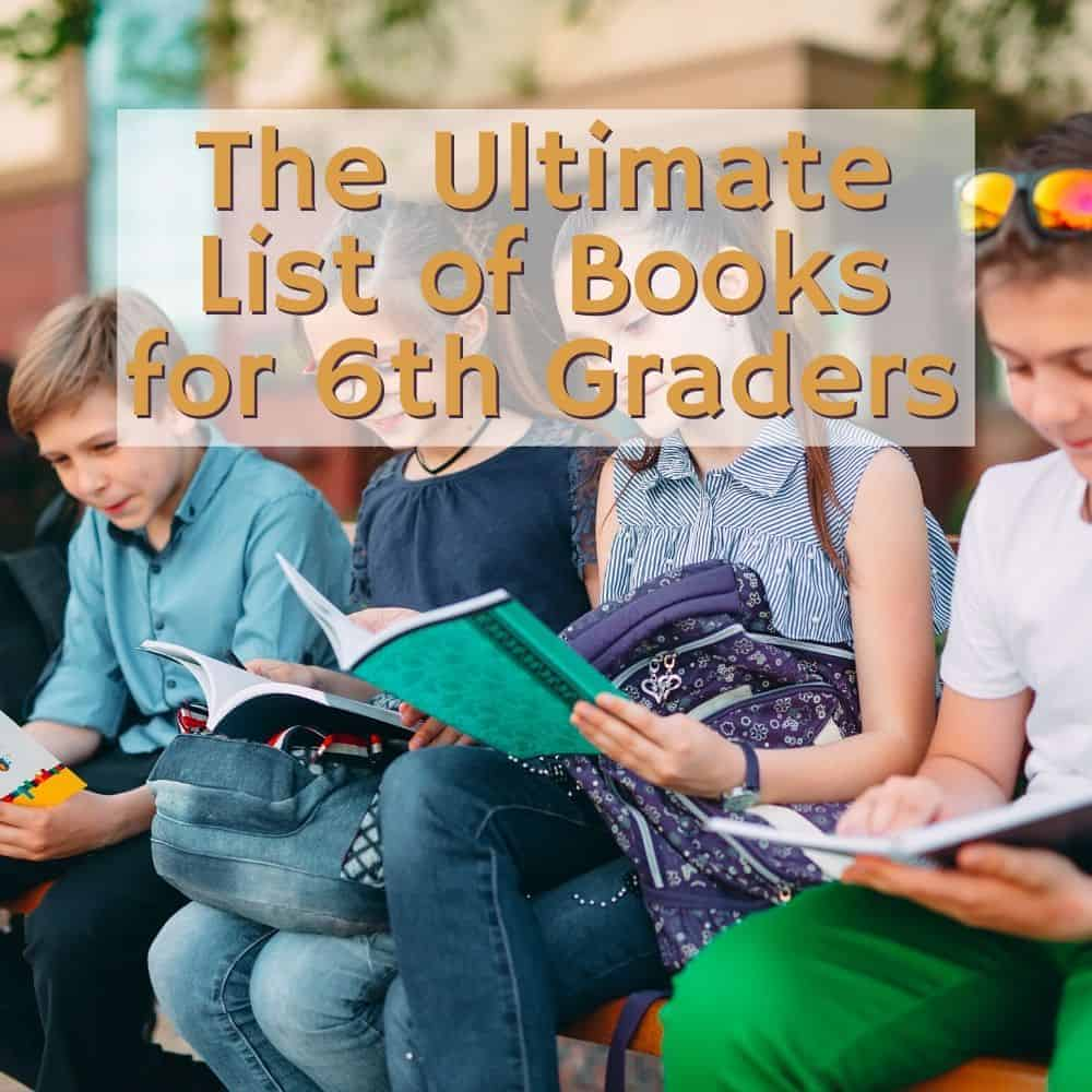 Boys and girls reading on a bench. Title image of blog post: the ultimate list of books for 6th graders