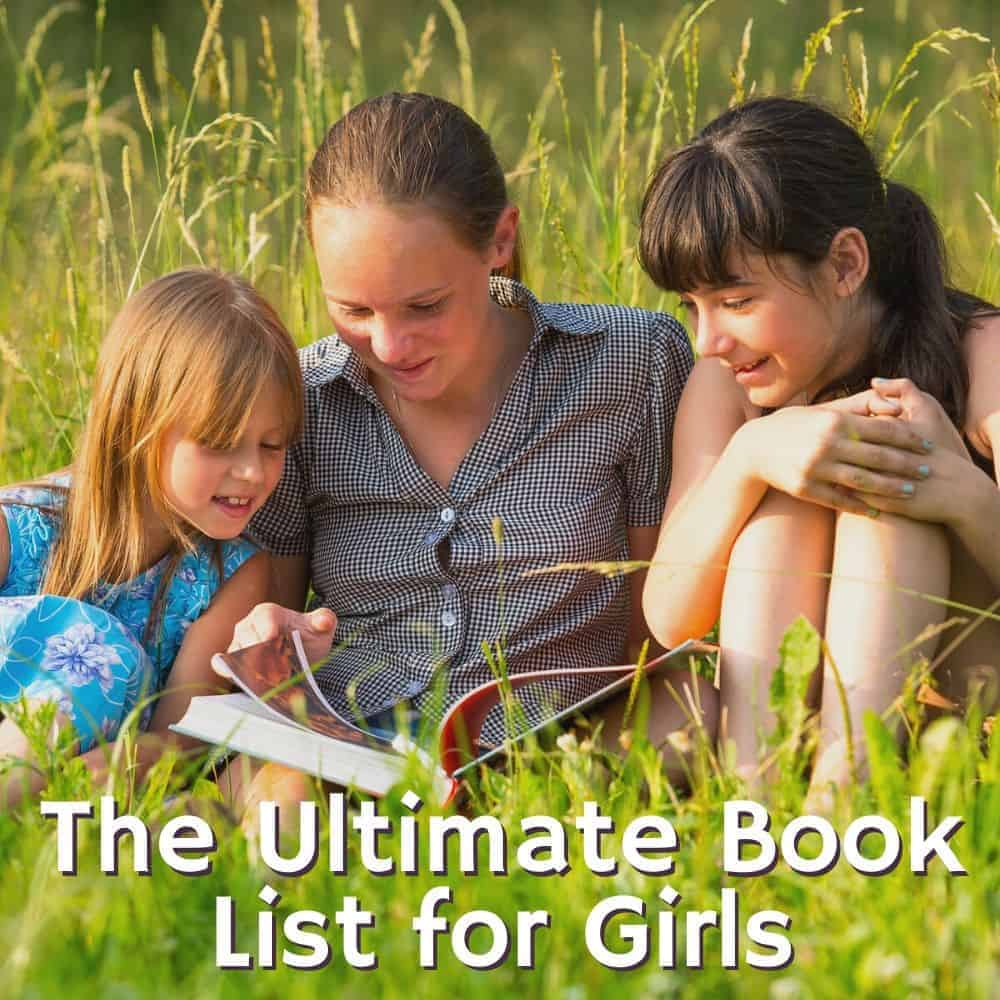 three girls reading a book. Title image for blog post books for girls