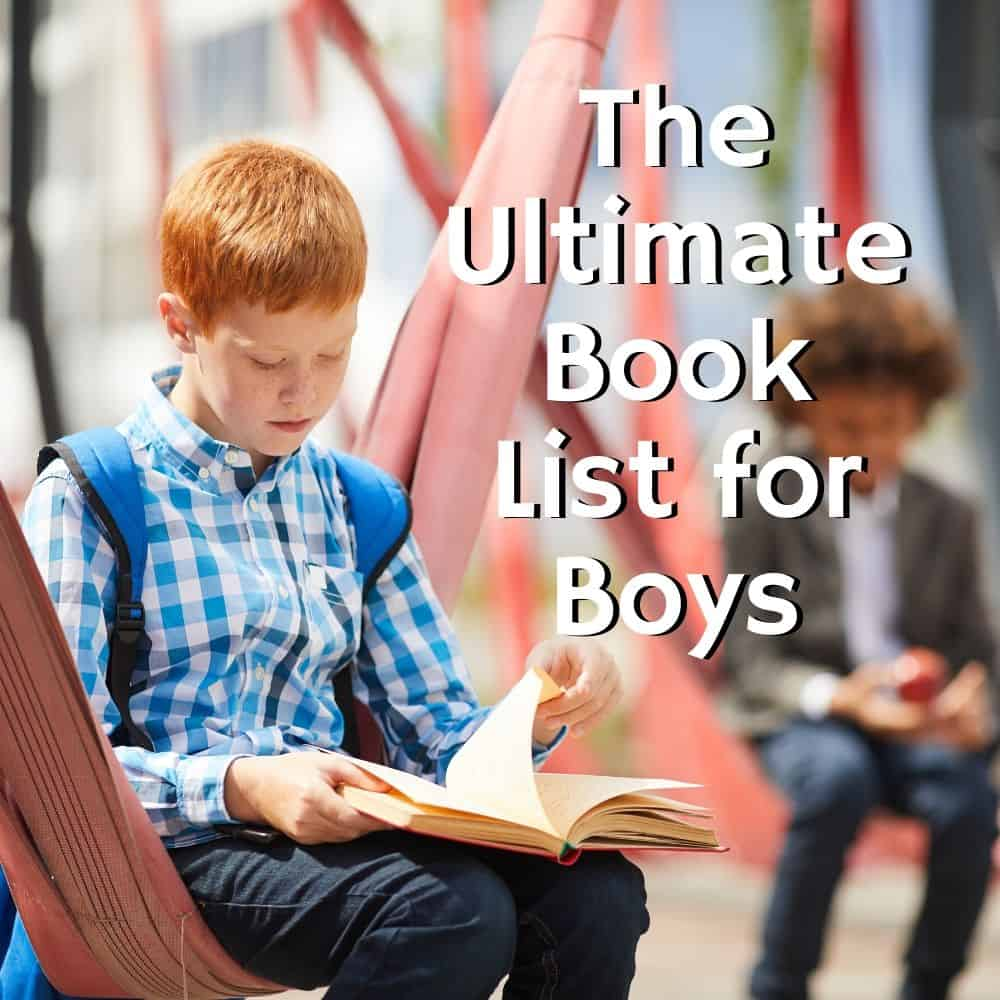 boy sitting and reading on the school playground. Title image of blog post: the ultimate book list for boys