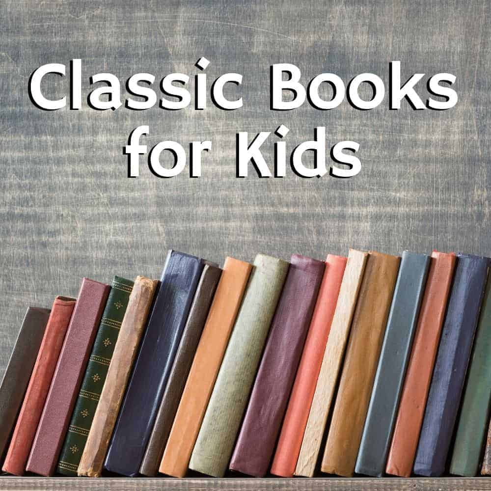 bookshelf of old books. Title image of the blog post: the ultimate list of classic books for kids.