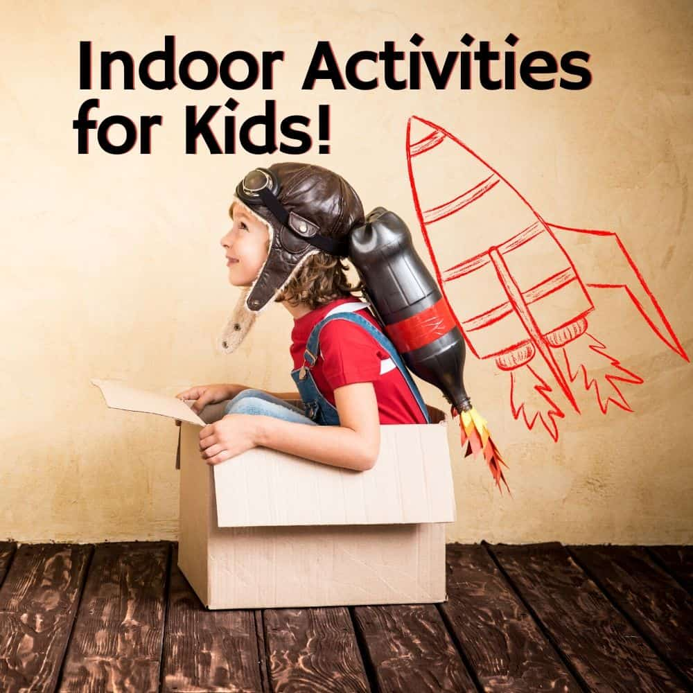 Imaginative child creating a rocket with a box and soda bottles   Title image for blog post: Indoor activities for kids
