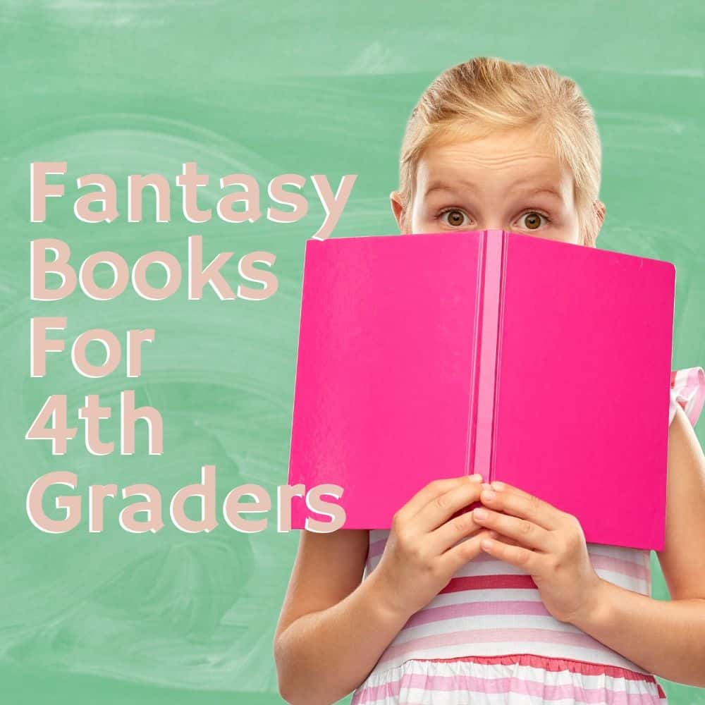 girl peeking from behind a pink book. Title image for blog post: 10 fantasy books for 4th grade.