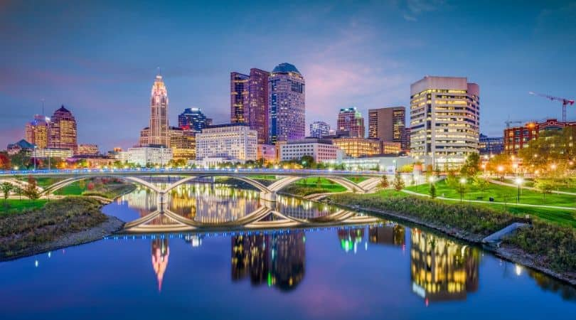 Nighttime view of the Columbus, Ohio riverfront
