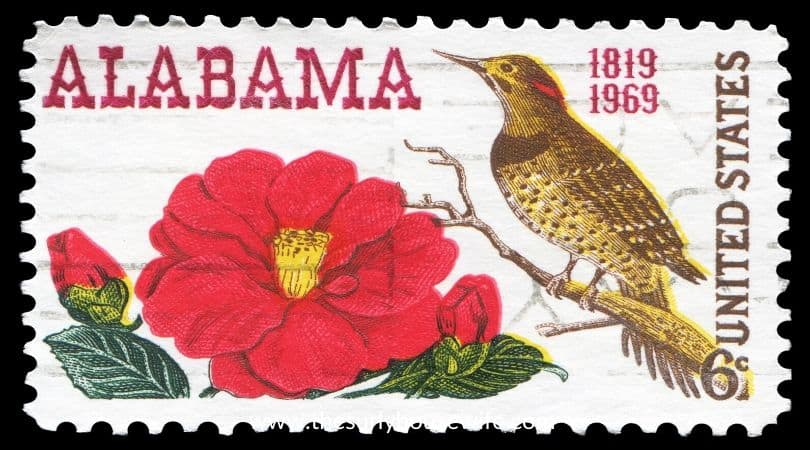 Alabama stamp. Title image of blog post Children's Books about Alabama