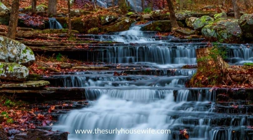 Waterfall along Collins Creek in Herber Springs Arkansas. Title image for blog post 20 children's books about Arkansas