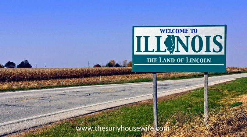 Illinois road sign. Title image for blog post Children's Books about Illinois