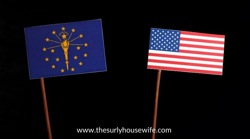 Small Indiana and American Flag. Title image of blog post: Children's books about Indiana