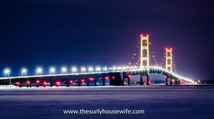Mackinac bridge at night, in winter