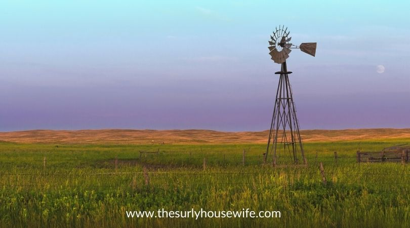 Western Nebraska landscape with windmill