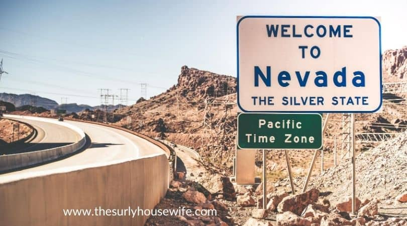 Welcome to Nevada. Highway welcome sign. Title image of blog post 20 children's books about Nevada.