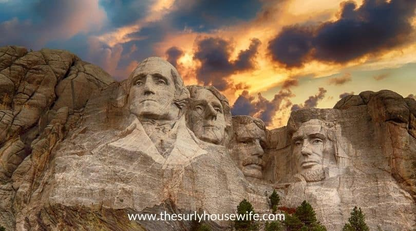 Mount Rushmore at sunset. Title image of blog post 20 children's books about South Dakota