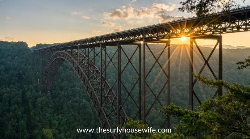 Sunset at the New River Gorge Bridge in West Virginia. Title image of blog post children's books about West Virginia
