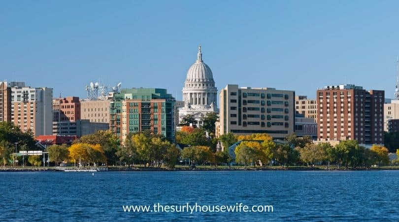 Lake front of Madison, Wisconsin with a view of the capital building