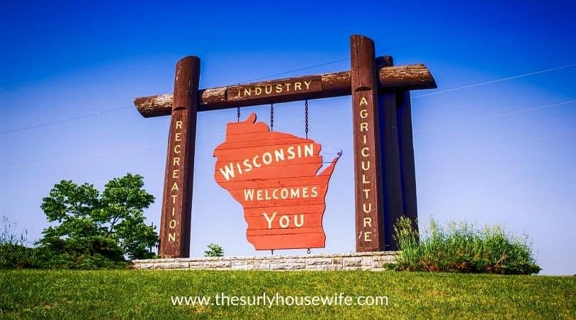 Wisconsin Welcome sign. Title image for blog post: 20 children's books about Wisconsin