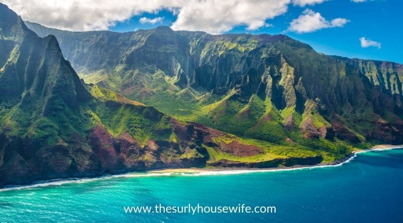 View on Napali Coast on Kauai island on Hawaii. Title image for blog post 20 children's books about Hawaii