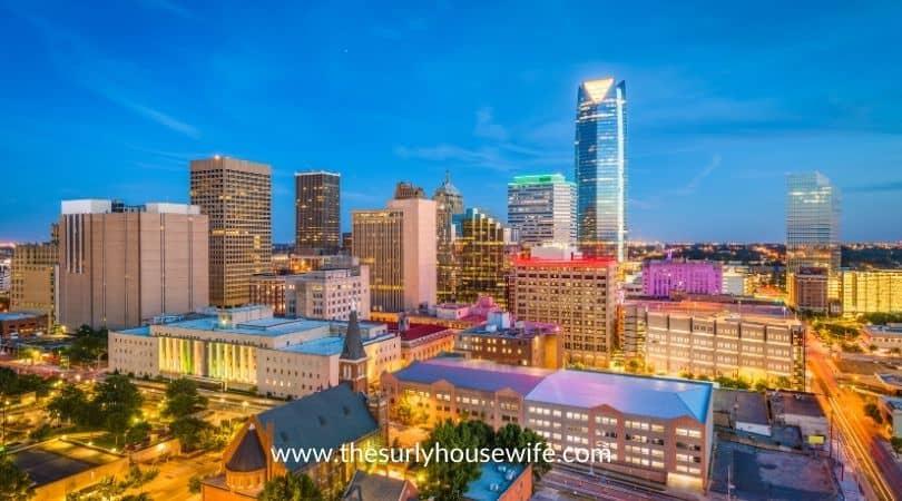 Oklahoma City skyline at sunset.